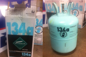 R134a refrigerant in a disposable cylinder