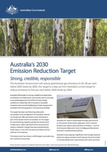 Government fact sheet on Australia's 2030 emission reduction target