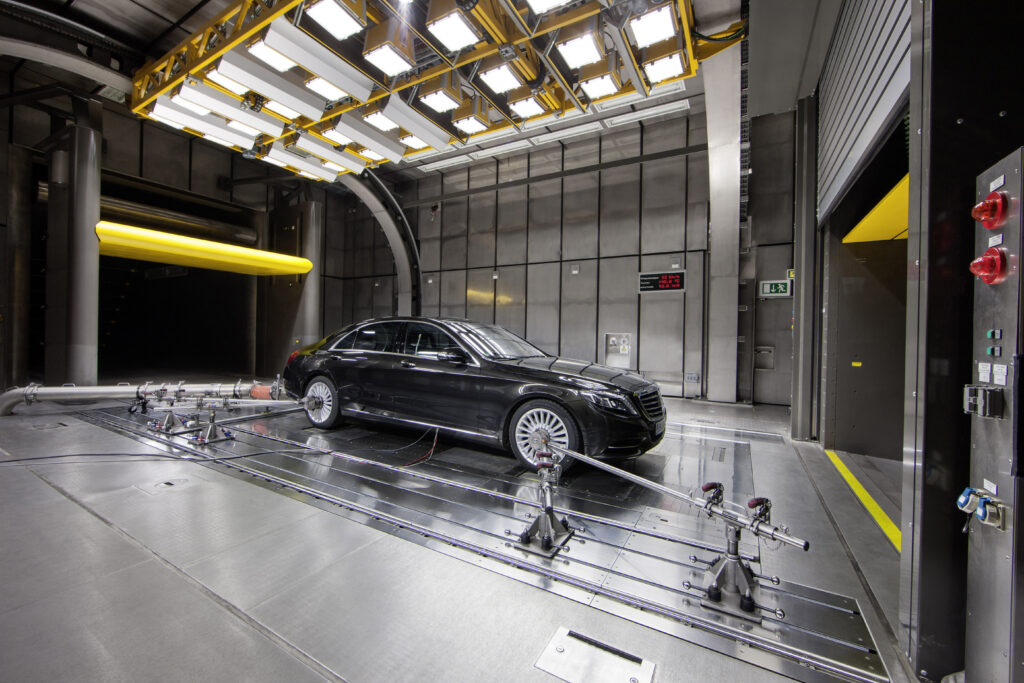 Mercedes-Benz S-Class with the CO2-based air conditioning system under test in the aeroacoustic wind tunnel in Sindelfingen, Germany