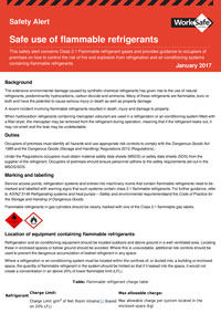 WorkSafe Victoria - Safe use of flammable refrigerants