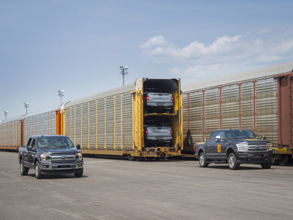 Electric Ford F-150 prototype pulls train