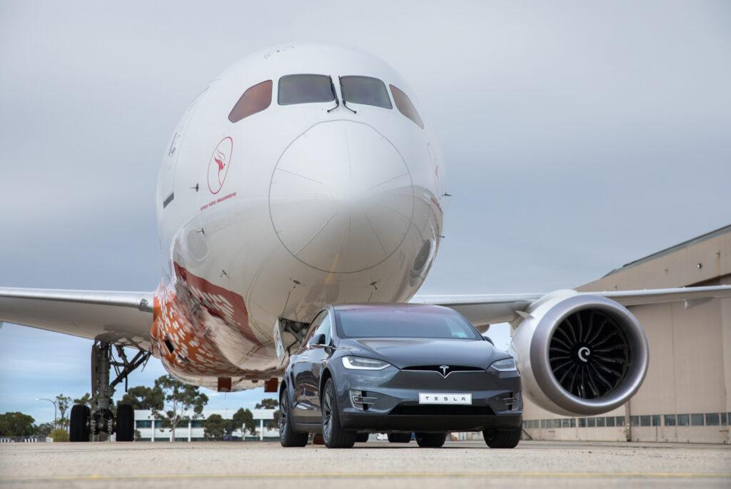 Tesla Model X pulls Qantas jet