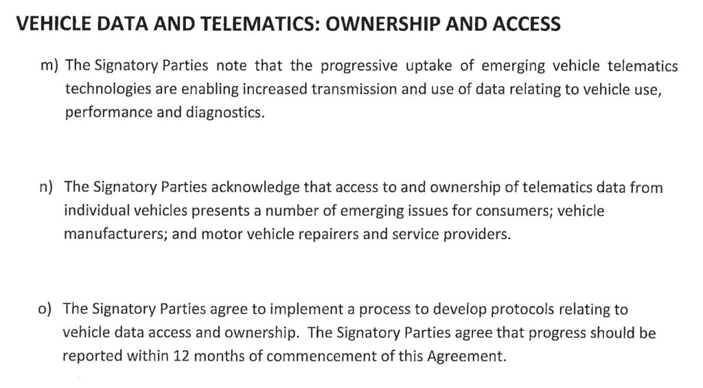 Extract from information sharing agreement