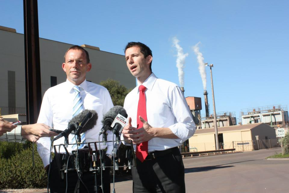 Simon Birmingham (right) with Tony Abbott