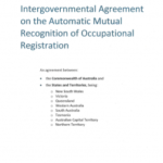 Intergovernmental Agreement on the Automatic Mutual Recognition of Occupational Registration discussion paper