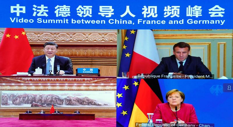Online summit between Chinese President Xi Jinping, French President Emmanuel Macron German Chancellor Angela Merkel