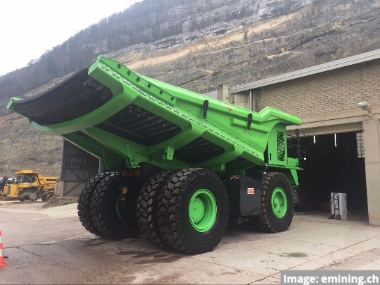 electric converted mine haul truck from emining.ch